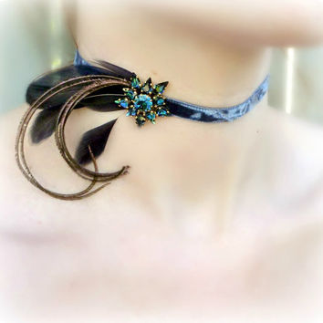 Renaissance Victorian Blue Velvet Choker - Vintage Rhinestone Feather Collar - Baroque Burlesque Romantic Prom Wedding
