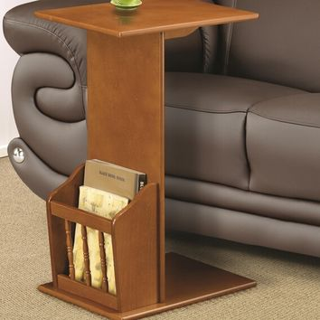 Oak finish wood slide under sofa chair side table with magazine rack