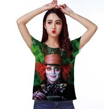 Track Ship+Vintage Retro Cool Rock&Roll Punk T-shirt Top Tee Alice Wonderland The Mad Hatter Gentleman With Tea 0861