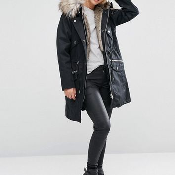 ASOS PETITE Parka With Detachable Faux Fur Liner at asos.com