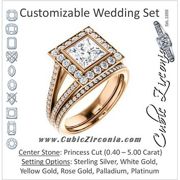 CZ Wedding Set, featuring The Maricela engagement ring (Customizable Bezel-Halo Princess Cut Ring with Wide Tapered Pavé Split Band & Decorative Trellis)