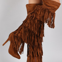 Fringe All Around Over-the-Knee Stiletto Boots