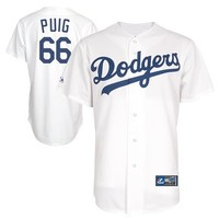 Yasiel Puig Los Angeles Dodgers #66 Majestic Replica Jersey - White