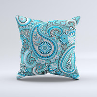 Vibrant Blue and White Paisley Design Ink-Fuzed Decorative Throw Pillow