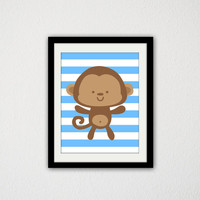 "Monkey. Jungle Animal. Cute Monkey. Animal. Nursery. Baby Girl. Baby Boy. kids Bedroom. Stripes. Baby Blue. 8.5x11"" Print."