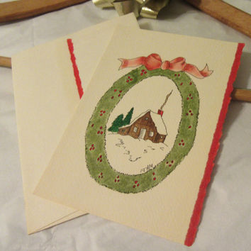 Pen and Ink Handmade Christmas Greeting Cards - Blank on the Inside