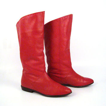 Red Leather Boots Vintage 1980s Flat Slouch Short Women's size 6 1/2