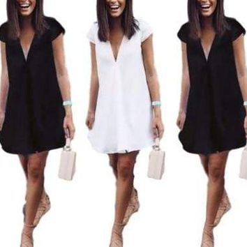 Womens Chiffon Mini Dress V Neck Loose Tunic Long Tops Beach Sundress