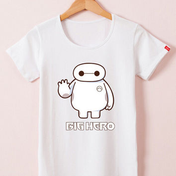 White Cartoon Print Big Hero 6 Short Sleeve T-Shirt