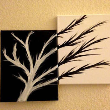 Black and white wall art Living room wall decor Acrylic painting canvas art Tree of life Tree painting Contemporary art