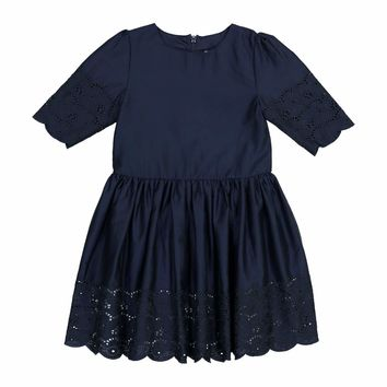 Teela Girls' EMA Eyelet Navy Solid Dress