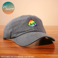 Rainbow Poop Dad Hat, Emoji Baseball Cap, Poop Emoji Custom Embroidery, Best Friend Gift, Personalized, Embroidered Hat
