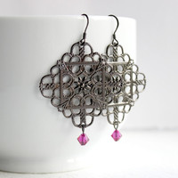 Gunmetal Gray Filigree Earrings with Dangling Fuschia Swarovski Beads - Handmade Jewelry - Big Earrings - Ready to Ship
