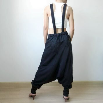 Trousers Bib Ninja Pants Suspender , Gaucho Unisex, Ribbed Cotton,Two Tone Green/Black Colour.04.
