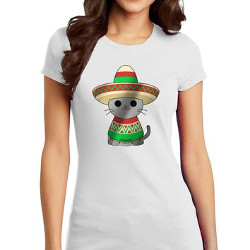 Sombrero and Poncho Cat - Metallic Juniors T-Shirt by TooLoud