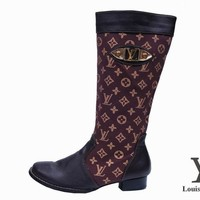 LV Louis Vuitton Women Fashion Leather High Boot Low Heels Shoes