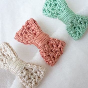 Set of three crochet hair pins