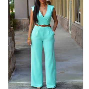 Fashion Big Women Sleeveless Maxi Overalls Belted Wide Leg Jumpsuit 8 Colors S-XXL Long Pants