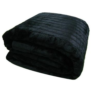 King Size Faux Fur Mink Blanket - Black - 270 x 240cm | Blankets | Great Gifts at Deals Direct
