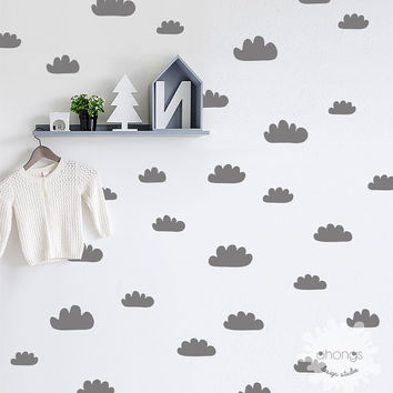 Cloud Wall Decal / Hand Sketched Clouds / 48 Clouds Sticker / Kids Wall Decor / Nursery Custom / removable / unique living room / gift