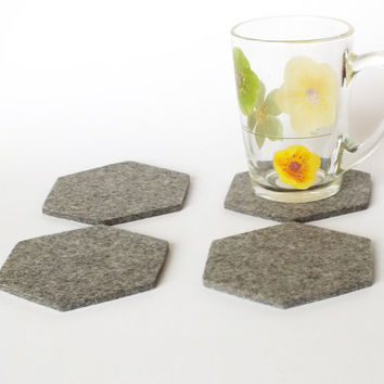 Hexagon Coasters. Set Of 4 Drink coasters Made From Merino Wooll Felt, Beer Costers, Home Decor Eco-Friendly Coasters, Party Decoration