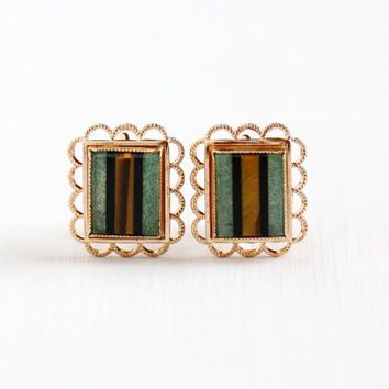 Vintage 14k Rose Gold Filled Screw Back Gem Inlay Earrings - Retro Tiger's Eye , Black Onyx, & Moss Agate Signed Amco Unique Clip On Jewelry