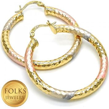 Gold Layered Women Hollow Medium Hoop, by Folks Jewelry