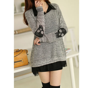 Two Peices Loose Stylish Women Skull Pullover Hollow Sweater Knitwear Cardigan  SV007577 (Size: L, Color: Grey) = 1920328132