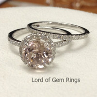 Round Morganite Engagement Ring Sets Pave Diamond Wedding 14K White Gold 7mm