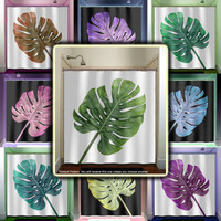 Tropical Green Monstera Leaf Shower Curtain bathroom decor fabric kids bath window curtains panels valance bathmat