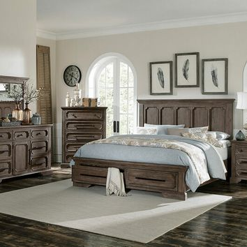 5 pc Toulon collection wire brushed distressed dark oak finish wood bedroom set