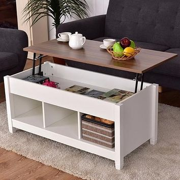 Lift Top Adjustable Coffee Table w/ Hidden