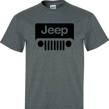 Jeep Wrangler Logo on a Dark Heather T Shirt
