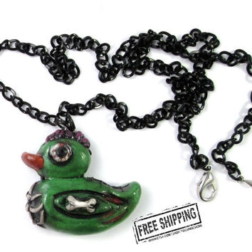 Zombie Duck Necklace - rubber ducky - zombie animals - psychobilly jewelry - punk necklace - horror necklace - creepy kawaii rubber duckie
