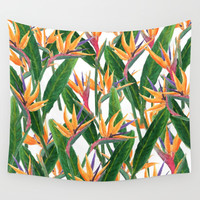 bird of paradise pattern Wall Tapestry by Color And Color