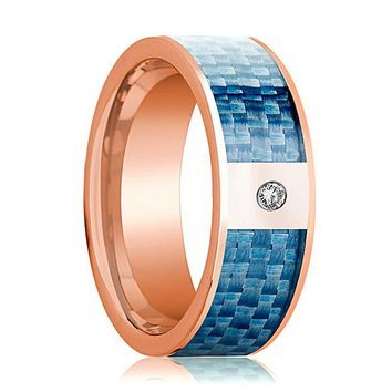 Mens Wedding Band 14K Rose Gold and Diamond with Blue Carbon Fiber Inlay Flat Polished Design