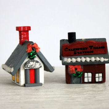 small vintage wooden Christmas house church building // kurt s adler // Christmas decoration // holiday village