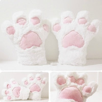 1 PAIR Cat PAWS / Cat Rabbit Bear MITTEN, white long fur Paw , Cat glove Cosplay Costumes Party