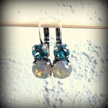 Swarovski crystal drop earrings, 2 stone blue and gray, not sabika but just as sparkly