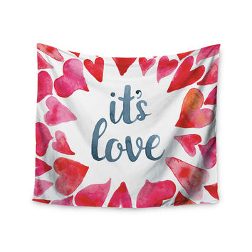 "KESS Original ""It's Love"" Red Pink Wall Tapestry"