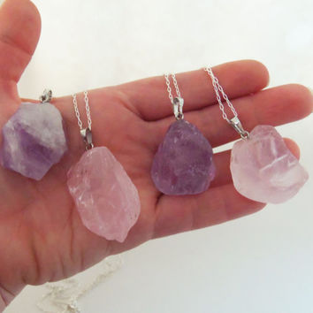 Crystal cluster necklace, amethyst cluster necklace, rose quartz cluster necklace, raw cut crystal, rough gemstones, amethyst chunk, nugget