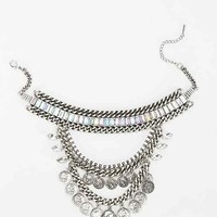 Rhinestone + Coins Statement Collar Necklace- Silver One