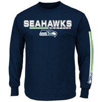 Seattle Seahawks Primary Receiver V Long Sleeve T-Shirt - College Navy