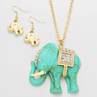 Elephant Necklace Antique Rhinestone Teal