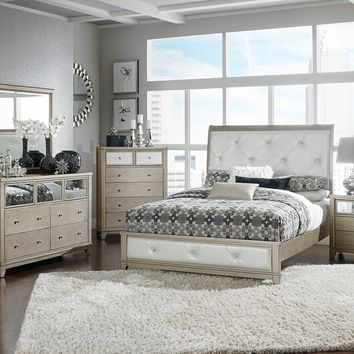 5 pc Odelia collection striking silver finish wood tufted headboard queen bedroom set