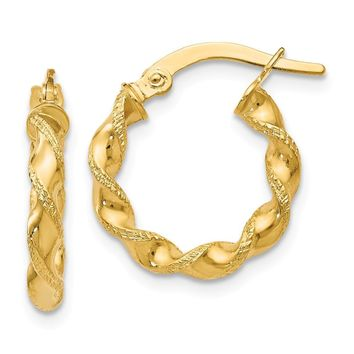 Leslies 14K Twisted Hoop Earrings
