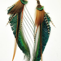 Feather Plugs 2g 0g 00g 1/2 inch 9/16 - Dangle Plugs or Tunnels with Tribal Wire Wrapped Feathers in COPPER OXIDATION: Peacock Green Brown