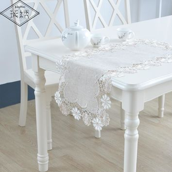 Elegant Embroidered Lace Trim Dining Table Cover Set 1Pcs Linen Table Runner + 2Pcs Linen Place Mat