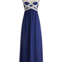 ModCloth Long Strapless Maxi Own the Spotlight Dress in Blue