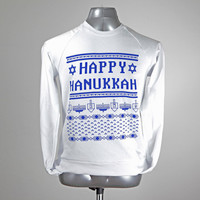Hanukkah Beautiful Ugly Sweater // white crewneck sweatshirt - royal blue ink // free domestic shipping